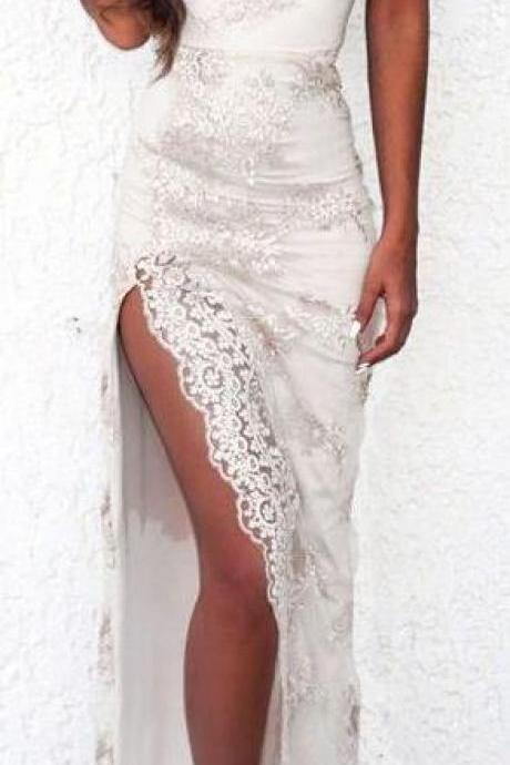 White Lace Prom Dress, Sexy Prom Gown,Cheap Prom Dress,Long Prom Dress, Sexy Slit Prom Dress, V neck Prom Dress