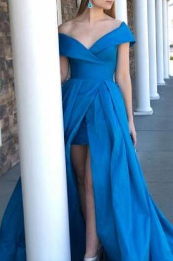 Gorgeous Prom Dress, Off the Shoulder Blue Prom Dress,Stain prom Dress,Long Prom Dress with Side Slit