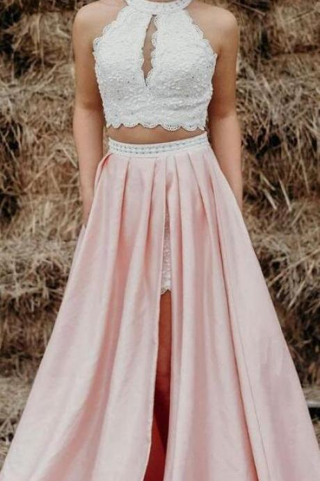 white and pink long prom dress, two piece prom dress with side slit, long prom dress 2018,prom dress with pockets