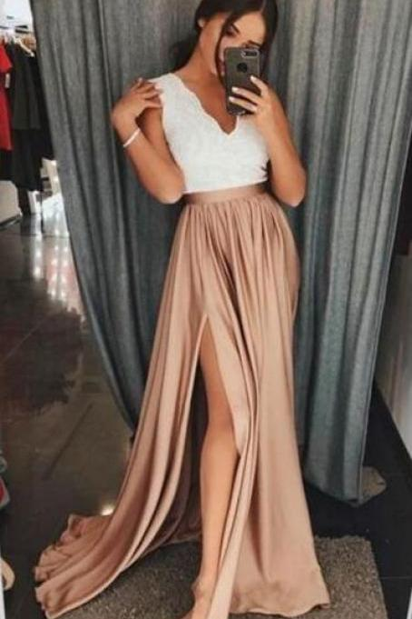 A-Line Prom Dress,Long Prom Dress,V-Neck Brown Elastic Satin Prom Dress ,Cheap Prom Dress with Split ,Lace Party Dress