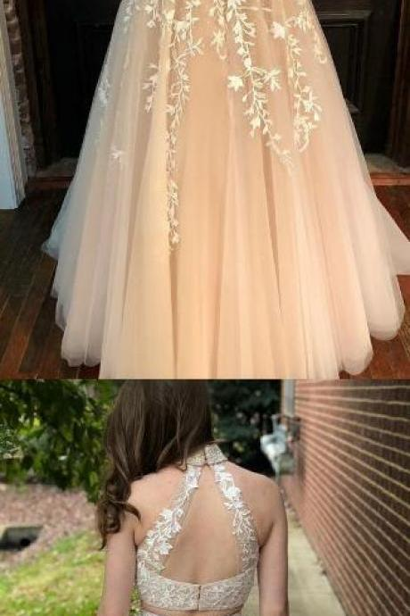 Two Piece Prom Dress, Tulle Prom Dress,Lace Prom Dress,Elegant Beaded Prom Dress,Formal Long Prom Dresses