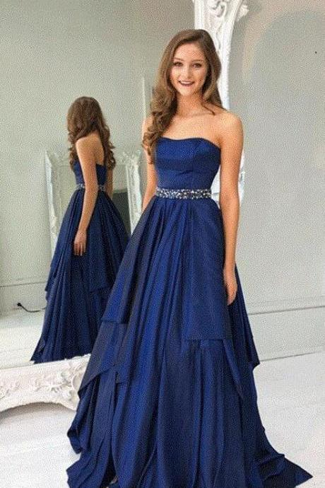 A Line Prom Dresses,Long Prom Dress,Cheap Prom Dress,Strapless Prom Gown,Sexy prom Dress,Navy Blue Prom Dresses,Long Evening Dresses,Beading Prom Dress