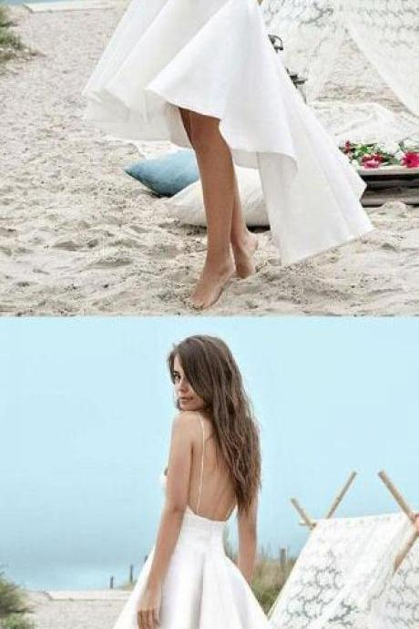 Charming A-line Prom Dress,Spagetti Strap Prom Dress,V-neck High-Low Prom Dress,Cheap Prom Dress,Beach Wedding Dresses