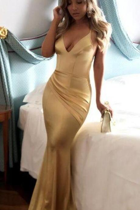 Mermaid Prom Dresses ,Sexy Prom Dress,Cheap Prom Dress,Short Train Spaghetti Straps Prom Dress,Long Sexy Gold Prom Dress