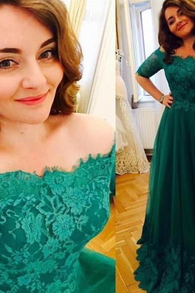 Princess Green Prom Dress,Short Sleeve Prom Dress,A Line Tulle Prom Gowns,Lace Prom Dresses , Vintage Plus Size Evening Formal Dress,A-Line Formal Gowns, Prom Dress,Formal Gowns Plus Size, Cocktail Dresses, formal dresses