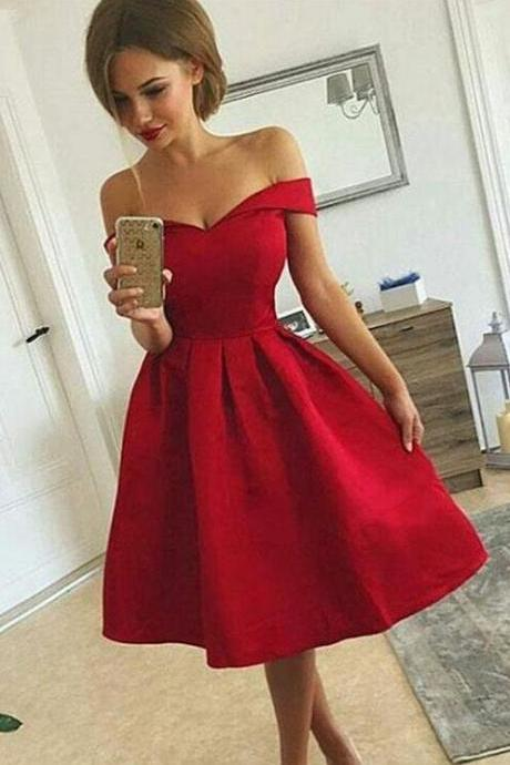 Cute A Line Prom Dress,Short Prom Dress,Stain prom Dress,Off Shoulder Short Prom Dress,2018 Homecoming Dress