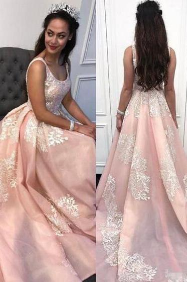 Elegant Pink Prom Dresses,Sexy Prom Dress,Formal Evening Dresses ,Stain Prom Dress with Court Train,Appliques Sweetheart Prom Gowns,Prom Dresses