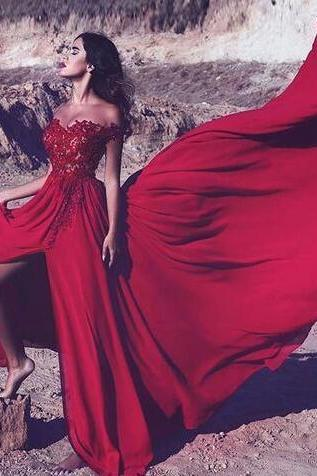 Sexy Red Appliques Prom Dress,Chiffon Prom Dress,Sleeveless Prom Dress,Cheap Prom Dress,Lace Prom Dress, Split Slit Prom Dresses, Long Evening Dress