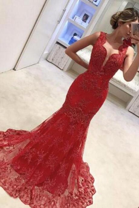 Charming Red Prom Dress,Lace Prom Dress,Long Prom Dress,Appliques Mermaid Prom Dress, Beaded Sleeveless Prom Dresses, Long Evening Dress