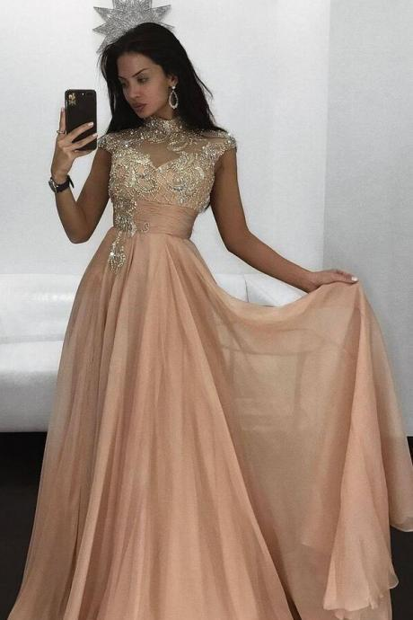 Sexy Prom Dress,Gergeous Beading Prom Dress, Chiffon Prom Dress,Elegant Long Evening Dress, Cap Sleeve Prom Dresses