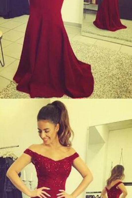 Lace V-neck Prom Dress,Long Mermaid Prom Dresses ,Burgundy Prom Dress,Beaded Court Train Formal Gowns For Special Occaisons,Cheap Prom Dress