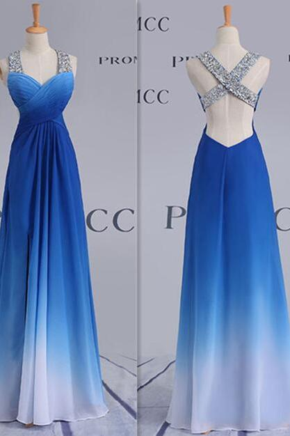 Floor-Length Evening Dresses,High Low Prom Dress,Pretty Royal Blue Prom Dress For Teens, Elegnat Party Prom Dresses,Prom Dress 2018,Backless Prom Gowns