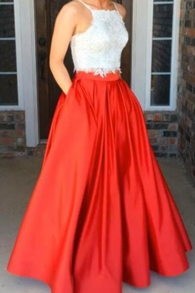 Spaghetti Straps Long Prom Dress,Lace Prom Dress,Red Prom Dresses,Cheap Prom Gowns,Pretty Party Dresses,Beautiful Evening Dresses,Prom Dress For Teens
