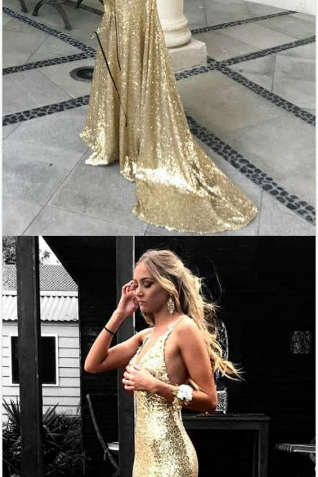 Gorgeous Champagne Sequins Prom Dress,Sexy Prom Dress,Mermaid Long Prom Dress, Backless Prom Dress