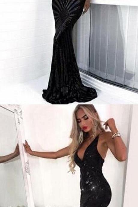 Sequin Prom Dress,Mermaid Deep V-Neck Prom Dress,Backless Sweep Train Prom Dress,Sexy Black Sequined Prom Dress
