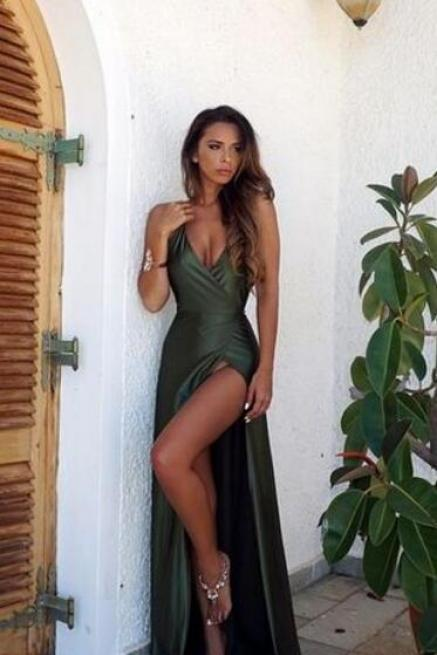 Split Prom Dress,Fashion Prom Dress,Cheap Prom Dress,Deep V Neck Prom Dress,Sexy Party Dress,Custom Made Evening Dress