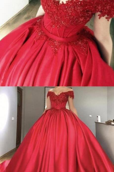 Off-the-Shoulder Dress,Red Prom Dress,Ball Gown prom Dress,Sexy Prom Dress,Beaded Prom Dresses,Long Prom Dress