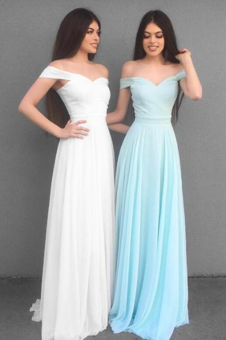 Simple A-Line Prom Dress,Chiffon prom Dress,Off Shoulder Long Prom Dress,Chiffon Prom Dress ,Women Evening Dress