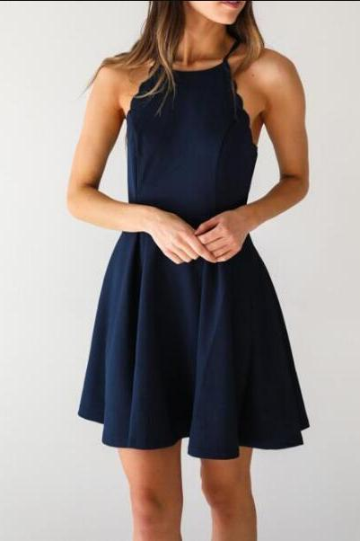 Dark Navy Homecoming Dress,A Line Homecoming Dress,Sexy Homecoming Dress,Cute Halter Party Dress