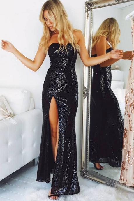 Sweetheart Black Sequins Prom Dress,Elegant Prom Dress,Sexy Prom Dress,Long Prom Dress,Split Sheath Evening Dresses