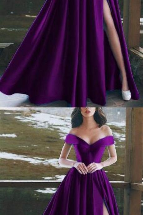 Elegant Prom Dress,V-neck Prom Dress,Cheap Prom Dress,Off The Shoulder Long Prom Dress,Satin Prom Dresses Purple Evening Gowns With Split