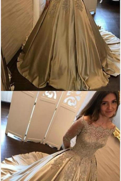 Charming Prom Dress,Lace Prom Dress,Mermaid Prom Dress,Satin Prom Dresses,Off the Shoulder Prom Dresses,Long-Sleeves Evening Dress