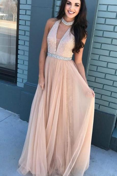 Halter Long Prom Dress,Sequin Prom Dress,Tulle Prom Dresses,Sexy Prom Dress,Cheap Pageant Dresses,Custom Made,Party Gown,Cheap Prom dress