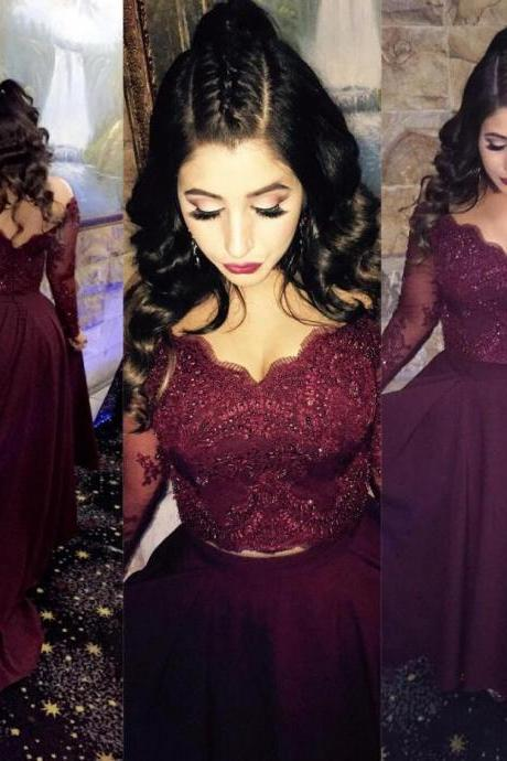 long sleeves prom dress, sexy prom dress,lace prom dress,stain prom dress,v neck dress,lace crop top,two piece prom dress,ball gowns prom dress