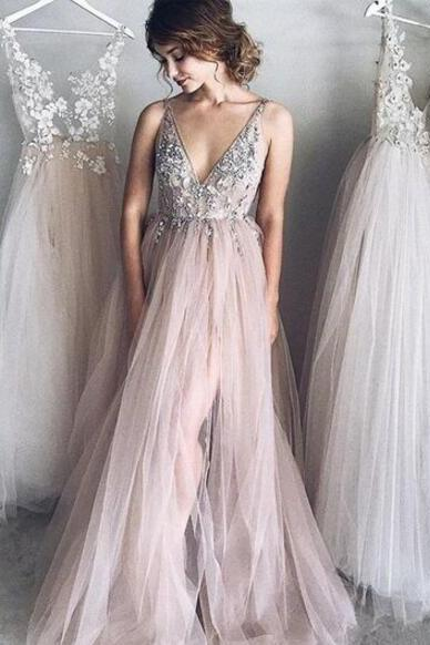 Sexy Beaded Prom Dress,V Neck Prom Dress, Cheap Prom Dress,A Line prom dress ,evening dress with beading