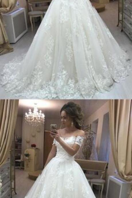 Embroidery Off Shoulder Wedding Dress,Lace Wedding Dress,Cheap Wedding Dress,Tulle Wedding Dresses Princess