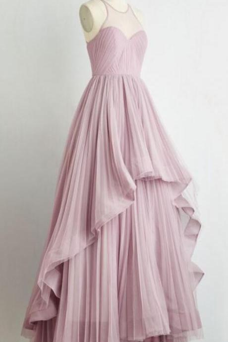 Simple Prom Dress,Charming Prom Dress,Chiffon Prom Dress,Long Prom Dress,A-Line Prom Dress,Pleat Evening Dress
