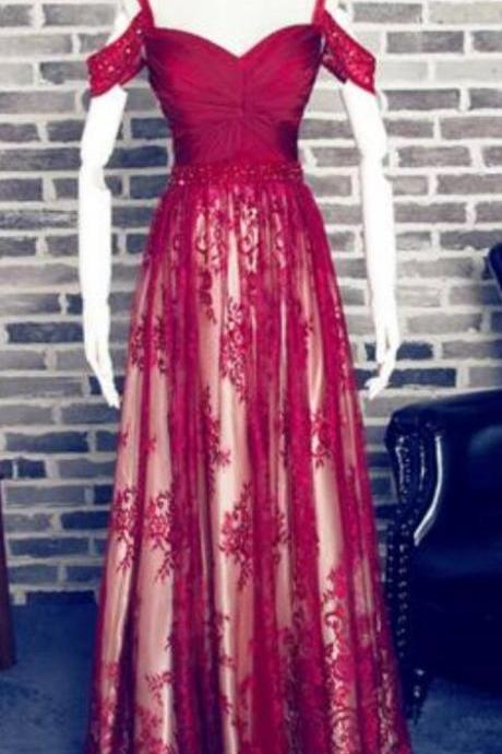 Lace Burgundy Prom Dresses, Off Shoulder Prom Dress,Sexy Prom Dress, Cheap Prom Dress,Long Homecoming Dress, 2019 Evening Dress