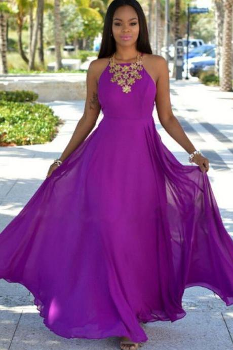 Halter Prom Dress,Cheap Prom Dress,A Line Prom Dress,Fashion Prom Dress,Chiffon prom Dress,Sexy Party Dress,Custom Made Evening Dress