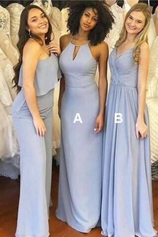 Simple Round Neck Prom Dress,One Shoulder Bridesmaid Dress,V neck Prom Dress, Dusty Blue Long Chiffon Bridesmaid Dress