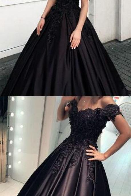 Black Satin Prom Dress,Lace Prom Dress,Ball Gown Quinceanera Dresses ,Lace V-neck Off The Shoulder Prom Dress