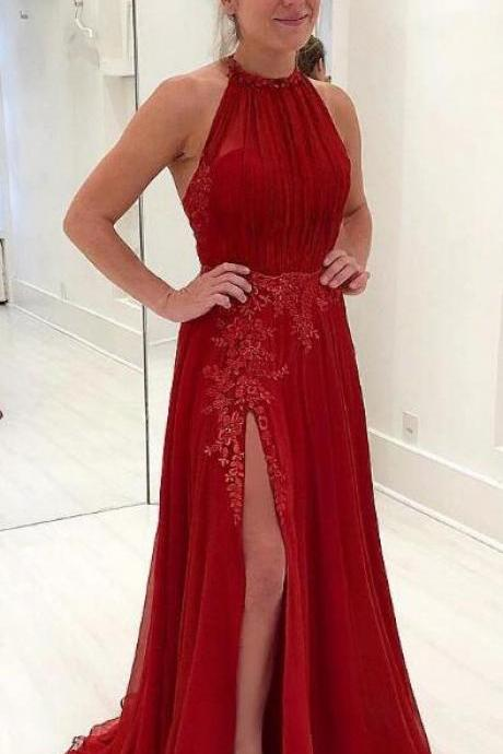 Elegant Red Tulle Prom Dress,Lace Embroidery Prom Dress,Halter Prom Dresses ,Long Formal Evening Gowns Leg Split