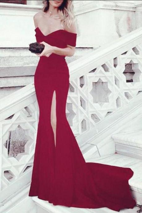 Sexy Leg Slit Prom Dress,Simple Prom Dress,Long Mermaid Evening Dress, Off Shoulder Prom Gowns