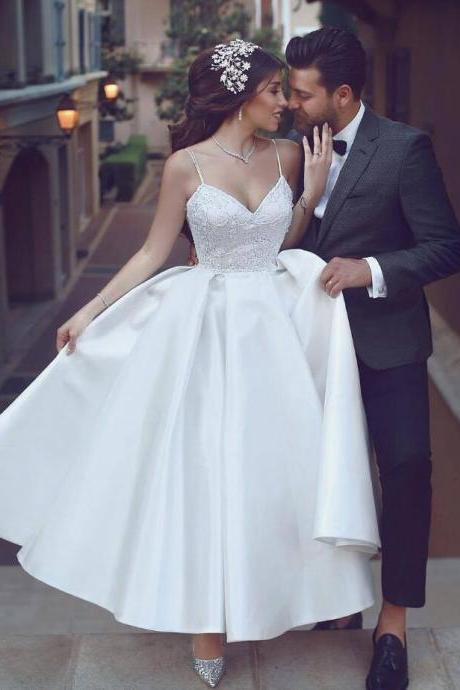 Short Wedding Dress,Tea length Informal Wedding Dress,Spaghetti Straps Short Bridal Dress