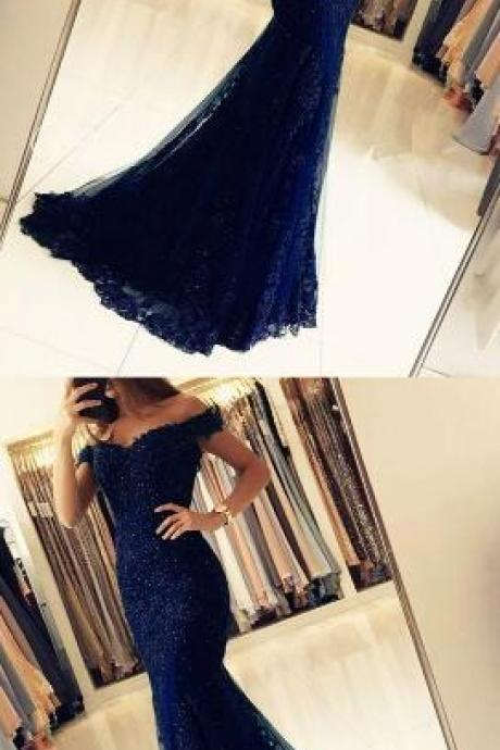 Off The Shoulder Prom Dresses,Sexy Prom Dress,Beading Prom Dress, Lace Mermaid V-neck Evening Gowns