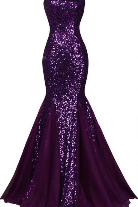 Dark Salmon Purple Prom Dress ,Elegant Formal Dresses ,Sequin Long Sparkly Evening Dress,Mermaid Evening Gowns High Quality