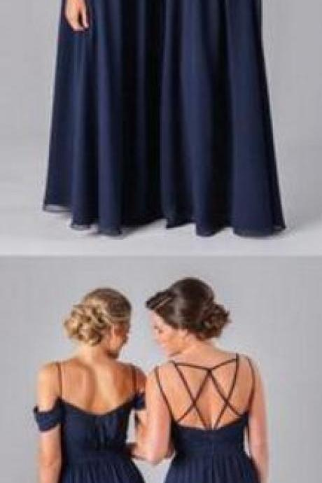 Chiffon Navy Blue Bridesmaid Dress,A Line Prom Dress,Formal Cheap Sexy Bridesmaid Dresses