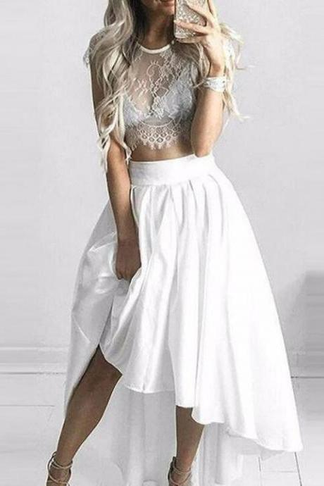 Two Piece Scoop Homecoming Dress,A-line White Lace Prom Dress,High Low Prom Dress
