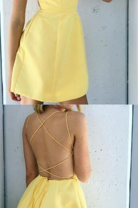 open back prom dress, short prom dress, satin cocktail dress,yellow homecoming dress