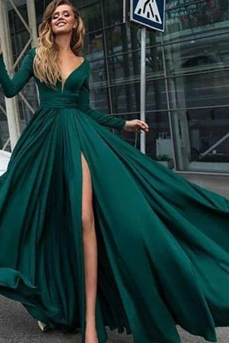 Sexy Long Sleeve Prom Dress,Dark Green Prom Dresses with Slit, V Neck Cheap Prom Dresseseep Train Brown Satin Bridesmaid Dress