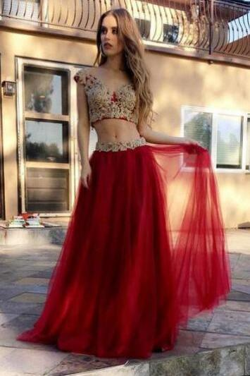 Two Piece Red Prom Dresses ,Lace prom Dress, Cheap A Line Floor Length Layers Appliques Prom Dress, Long Party Dresses