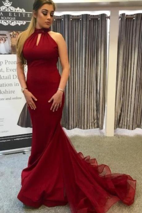 Mermaid Prom Dress, Cheap prom dress,Sexy Prom Dress,Red Long Prom Dress with Train