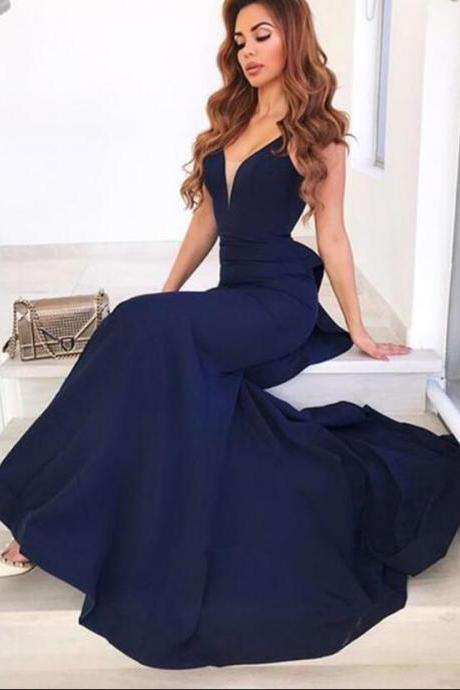 Mermaid V Neck Open Back Prom Dress,Modest and Unique Prom Dress,Ruffled Navy Long Prom Dresses, Beautiful Evening Dresses
