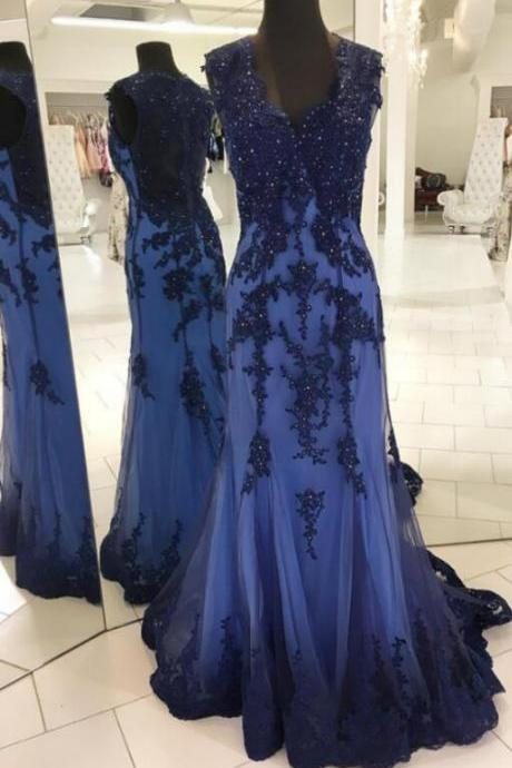 navy blue evening gowns,Cheap Prom Dress,Beading Prom dress,elegant prom dress,lace appliques prom dress