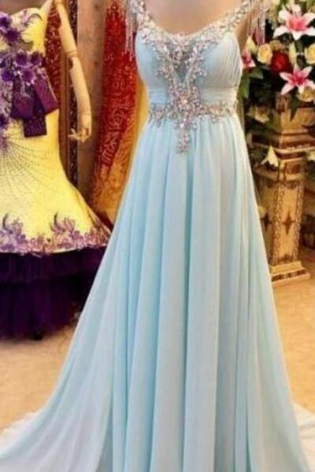 light blue chiffon prom dress ,v-neck with a sleeveless ball gown prom dress,beading prom dress, evening gown