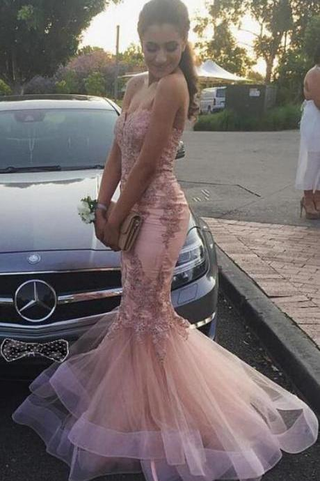 Sweetheart Neckline Prom Dress,Tulle Prom Dress,Lace Prom dress,Mermaid Evening Dresses With Lace Appliques